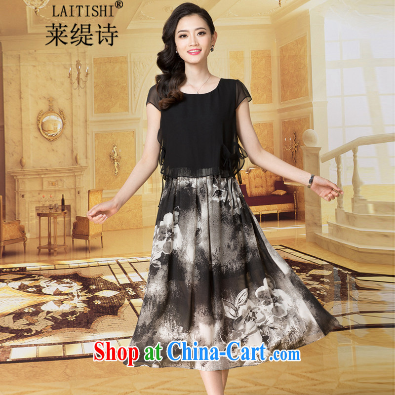 Tony Blair has long poem 2015 summer Korean version of the new, female loose snow woven shirts stamp long skirt the code dress _7946 black 6076 XXL
