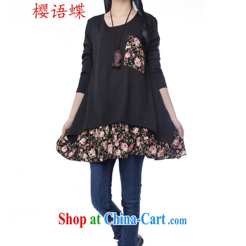 Cherry, Butterfly Spring and Autumn 2015 the new leave two thick MM round-collar pocket solid color dresses, with the long-sleeved dresses female black XXL