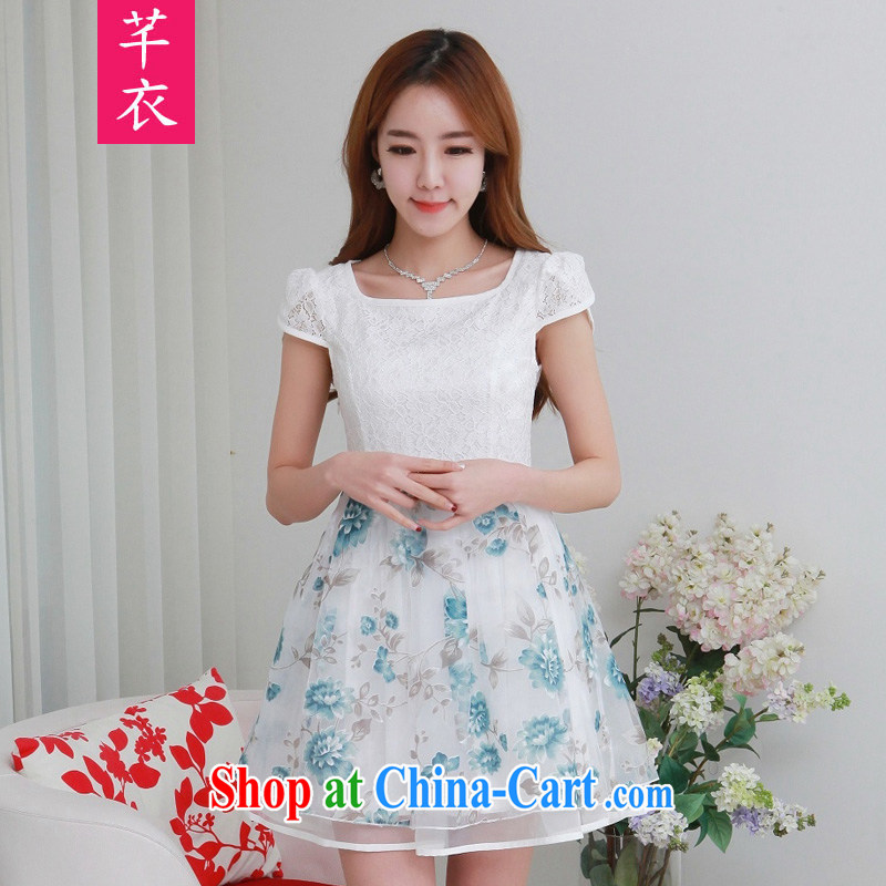 CONSTITUTION AND STYLISH 2015 summer new European root yarn stamp lace elegant sweet graphics thin dresses fresh lovely temperament a waist thick mm XL skirt blue 2 XL 125 - 140 jack