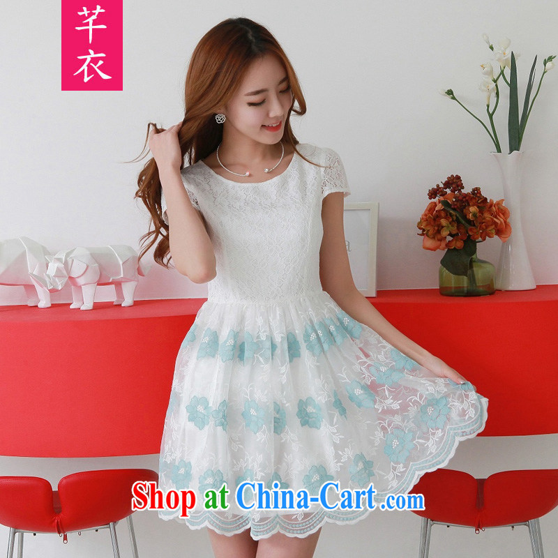 Constitution, fat, female XL 2015 summer new stylish upmarket two-color lace elegant sweet graphics thin dress mm thick sweet elegance skirt blue 4 XL 160 - 175 jack