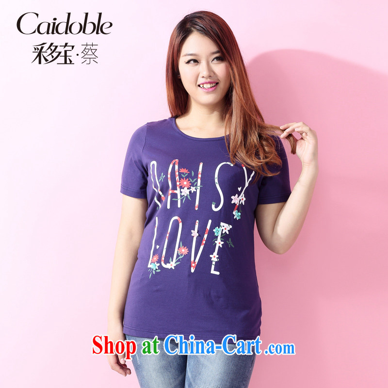 2015 spring and the many major Code female thick MM sweet 100 letters on stamp duty short-sleeve shirt T A 3585 blue 2 XL
