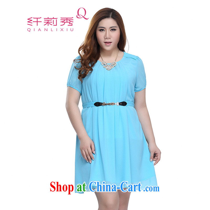 Slim LI Sau 2015 summer new, larger female round-collar short-sleeve graphics thin solid ice woven dresses skirts Q 7721 blue 2 XL