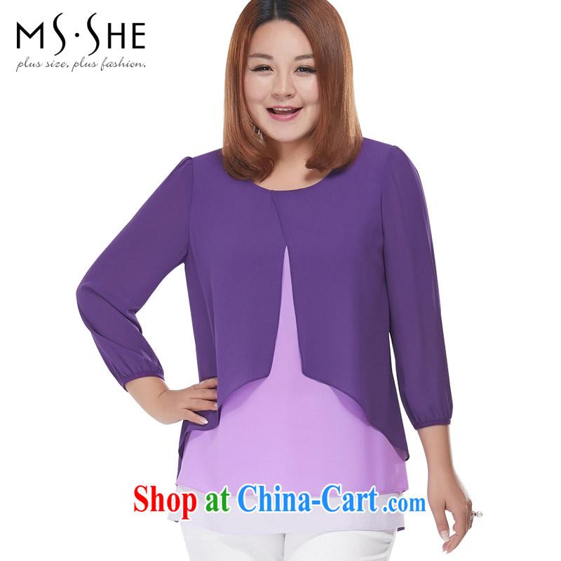 MsShe XL girls 2015 new summer 7 sub-cuff flouncing round-collar snow woven shirts 2863 purple 5 XL