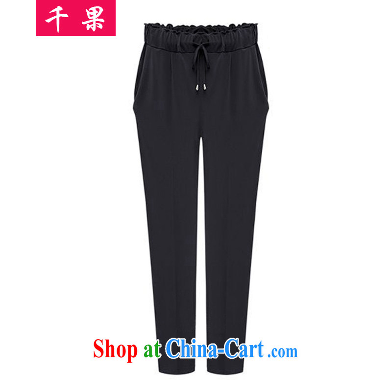 1000 fruit 2015 new king, female 200 Jack thick MM Spring and Summer in Europe and America with stylish graphics thin, trouser press the code female pants 553 black 5 XL