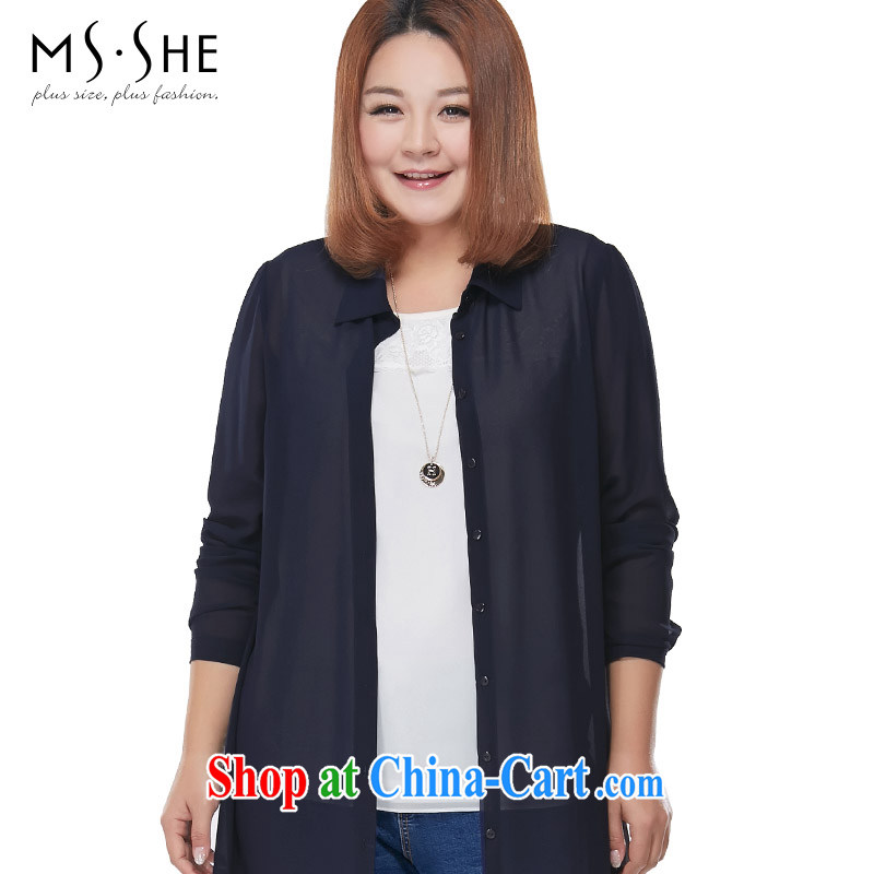 MSSHE XL female snow woven shirts 2015 new Summer Snow woven shirts sunscreen jacket long pre-sale 2875 blue - pre-sale on 30 June to 5 XL