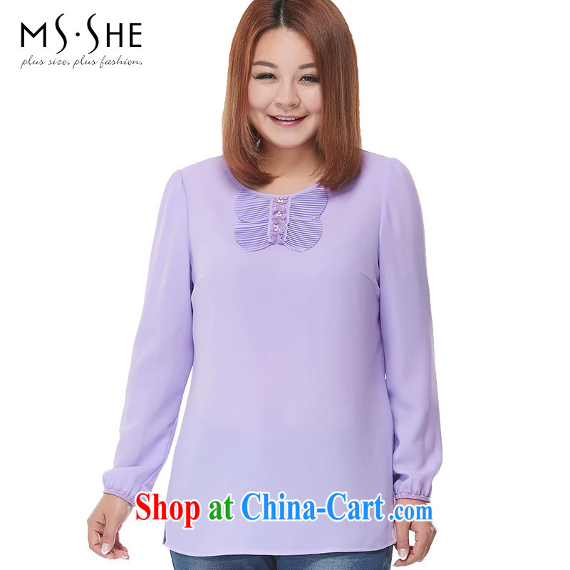 MSSHE XL ladies' 2015 spring round-collar-pin Pearl lace long-sleeved snow woven shirts 2515 light purple 4 XL