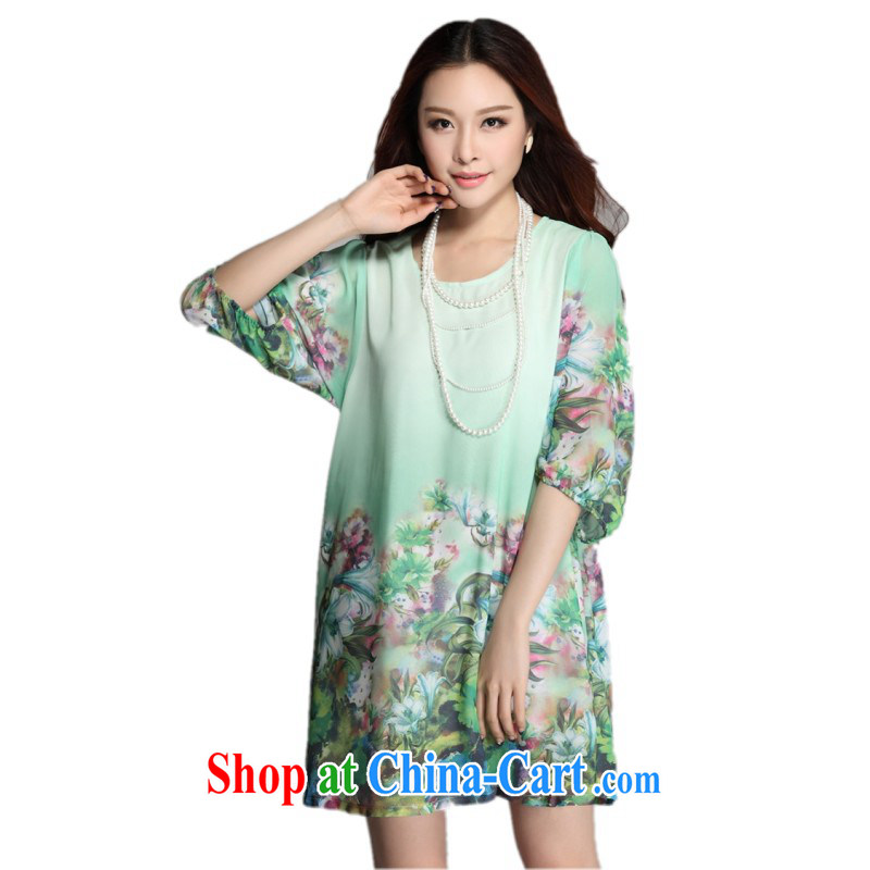 The package mail and indeed XL summer dresses romantic floral cuff in loose snow woven shirts skirts HD stamp leisure video thin short green 6 XL approximately 185 - 210 jack