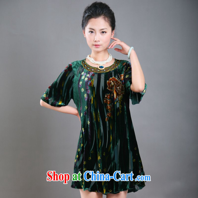The Bosch 1 trillion color is really wool dresses 2015 summer short-sleeved new mom with the Code female elderly in the suit is indeed increasing sauna silk counters are green 3 XL