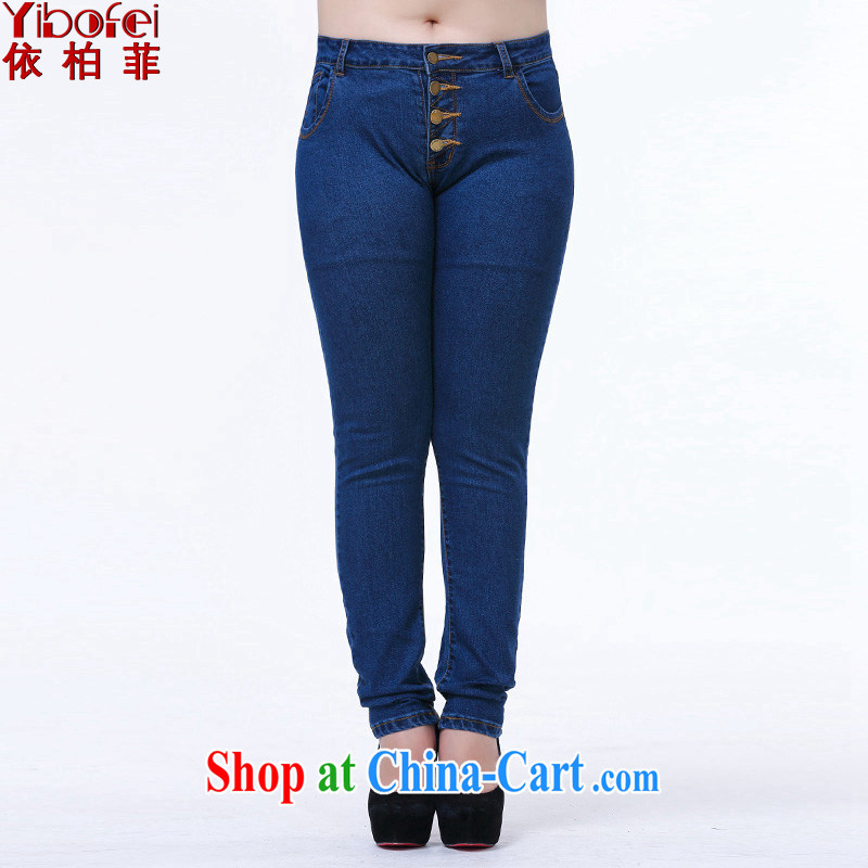 According to perfect 2015 new thick sister the fat King code jeans high waist-tie beauty video skinny legs pants pants Y 2063 blue 4 XL