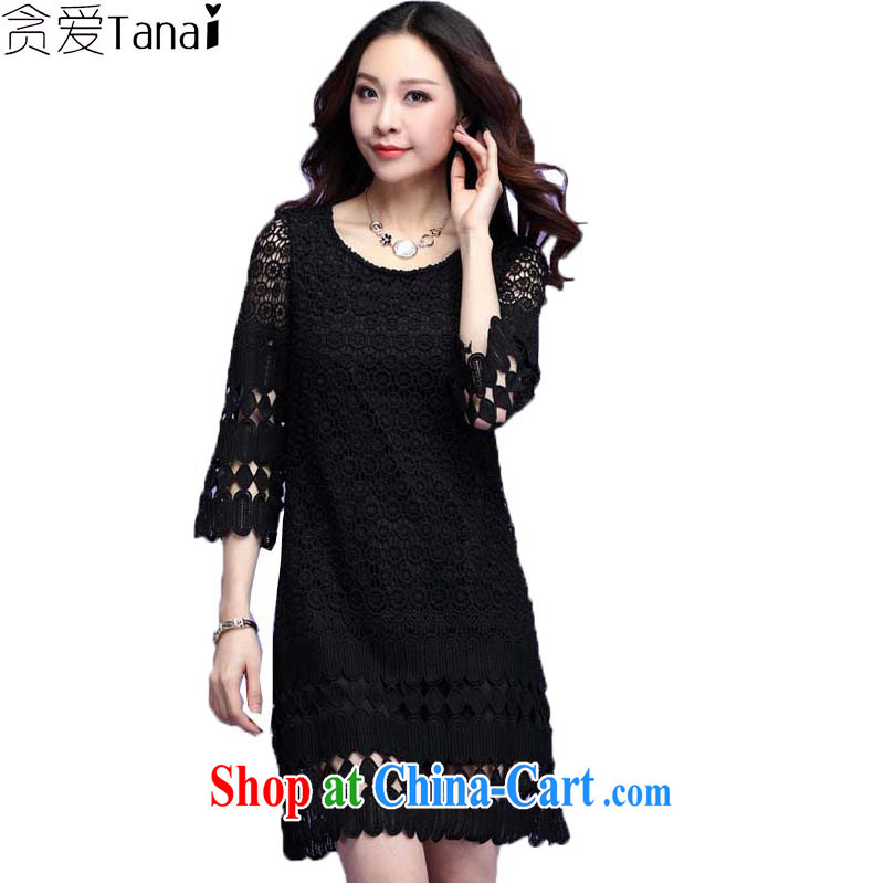 Loved spring and summer New Beauty video thin and thick XL female stereo lace 5 cuff dress 3693 black 4XL