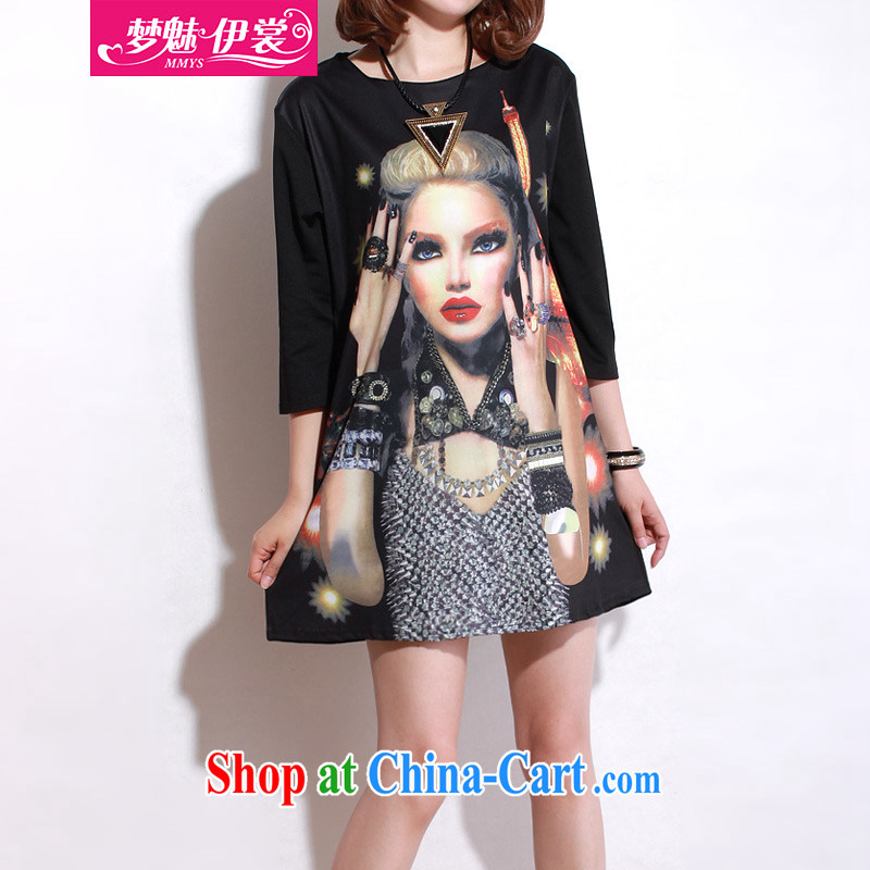 Director of the Advisory Committee 2015 spring and summer, the United States and Europe and indeed increase, female fat mm video thin, long T shirt-skirt black loose all code brassieres tile 110