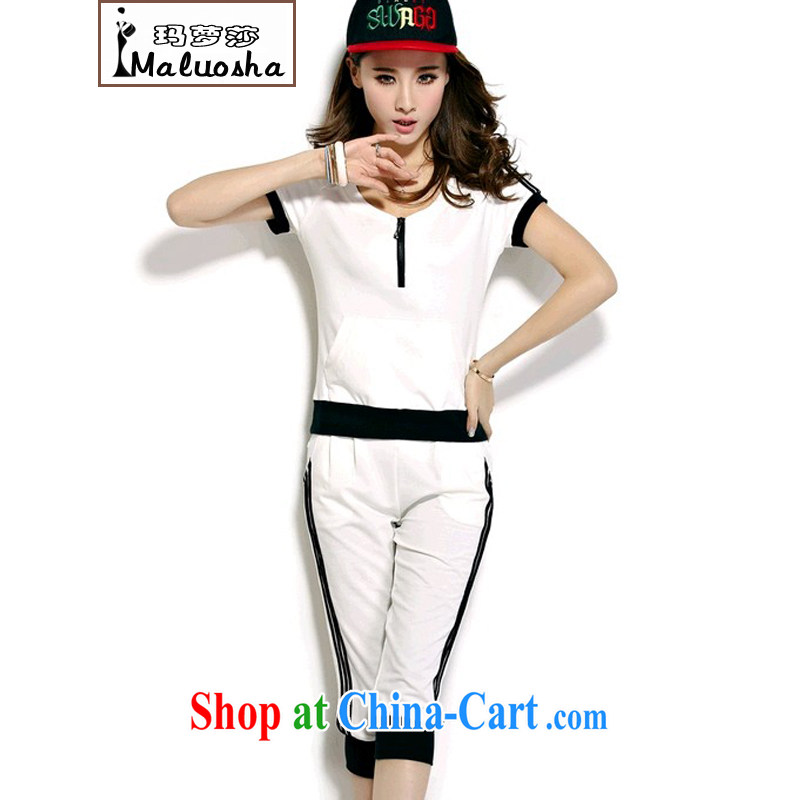 Margaret Elizabeth Kahlo's summer 2015 new short-sleeve 7 pants stylish Korean cotton sport and leisure package two-piece black XXL