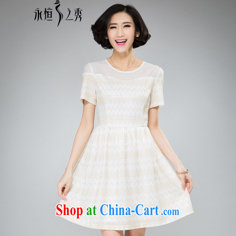 Eternal Soo fat, Video thin large Code women dresses 2015 spring and summer thick sister new Korean sweet European root yarn stamp graphics thin A field skirt swing dress m White 3XL