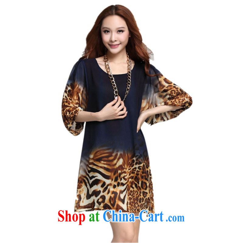 The package mail and ventricular hypertrophy, ladies dresses and stylish lady Leopard stamp horn, snow cuff woven skirt stylish graphics thin loose, blue 4 XL approximately 180 - 210 jack