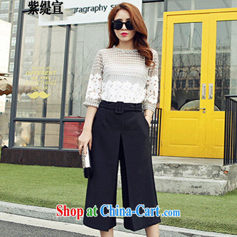 First economy summer sun New Europe, larger female thick mm leisure two-piece style lace T-shirt T-shirt + pants _7223 photo color 3XL 150 - 160 about Jack