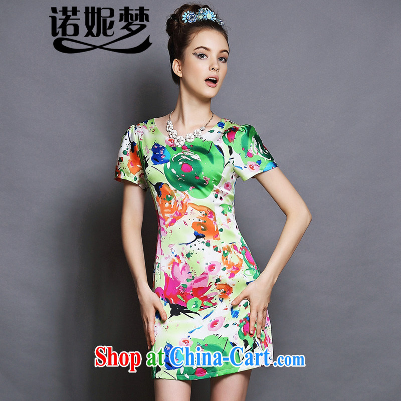 The Connie was a high-end European and American fare is indeed increasing, female 200 Jack 2015 summer New Style stamp emulation, video thin short-sleeved dresses G 048 green XXXXXL
