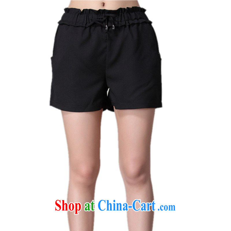 The package mail thick sister XL shorts 2015 summer new drawcord elasticated waist graphics thin hot pants leisure 100 ground female pants solid black 3 XL 2 feet 4 - 2 feet 6