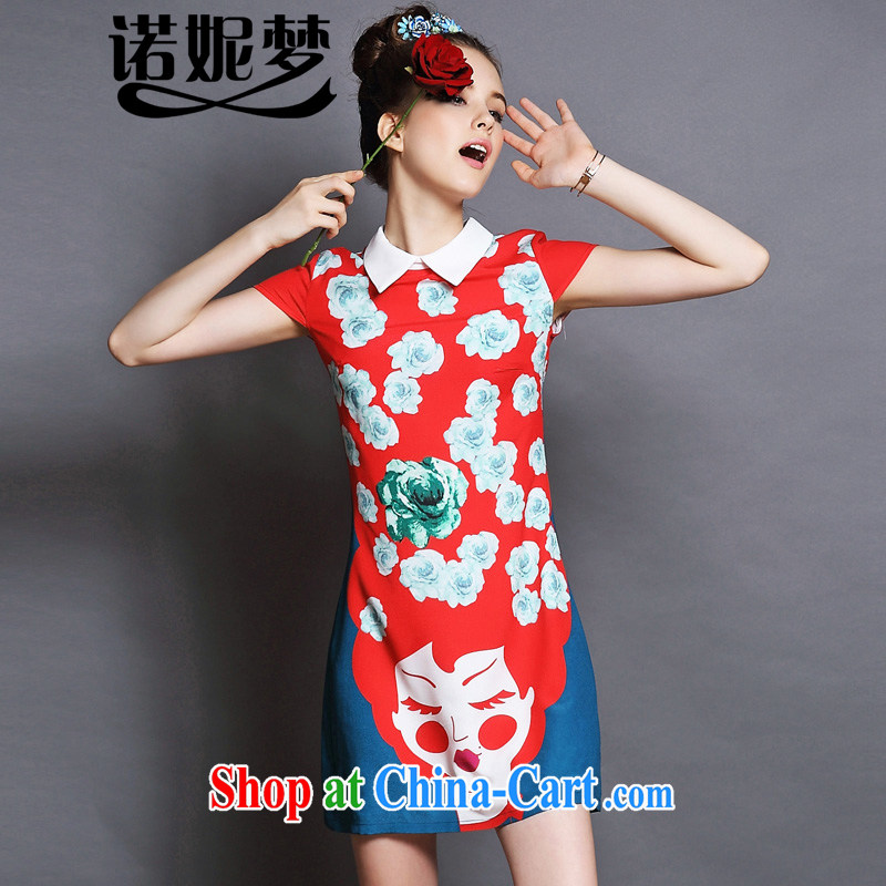 The Connie was a high-end European and American fare is indeed increasing, female 2015 summer New Style stamp lapel graphics thin short-sleeved dresses G 081 red XXXXXL