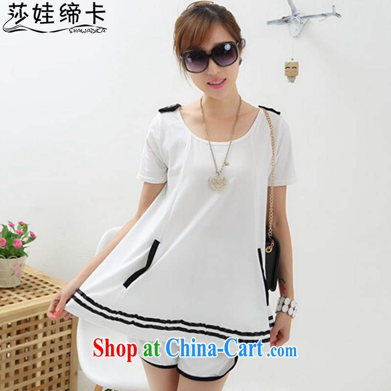 She concluded her card spring 2015 new stylish large, pregnant Kit cotton T-shirt short-sleeved shirts and trousers, white sport and leisure package summer white XL