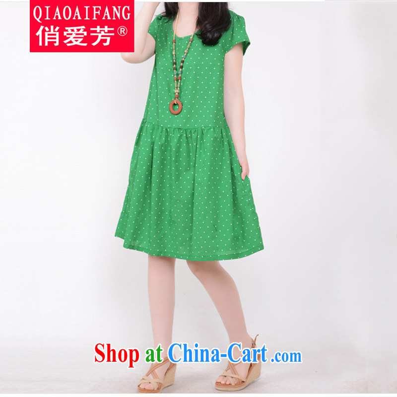 To Love, summer 2015 new sweet little fresh wave point Dolls with XL women's clothing loose short-sleeved cotton Ma dresses green XXL