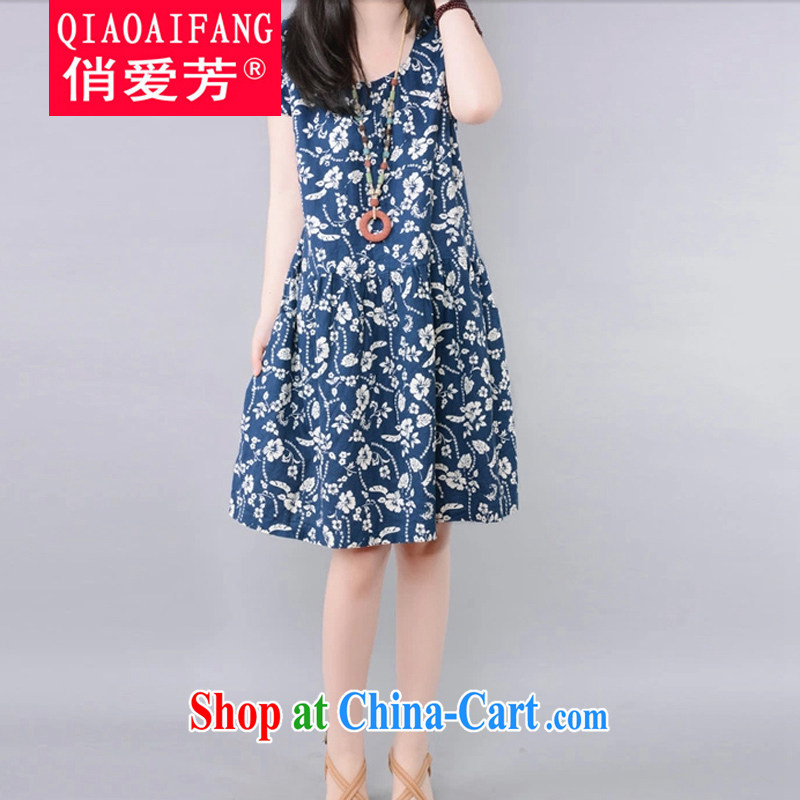 To Love, summer 2015 new female ethnic wind linen floral high-waist graphics thin large, very casual short-sleeved dress dark blue XXL