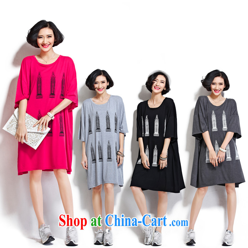 Summer 2015 a large, thick mm female stamp room T shirts relaxed dress 6860 _dark gray large code are code