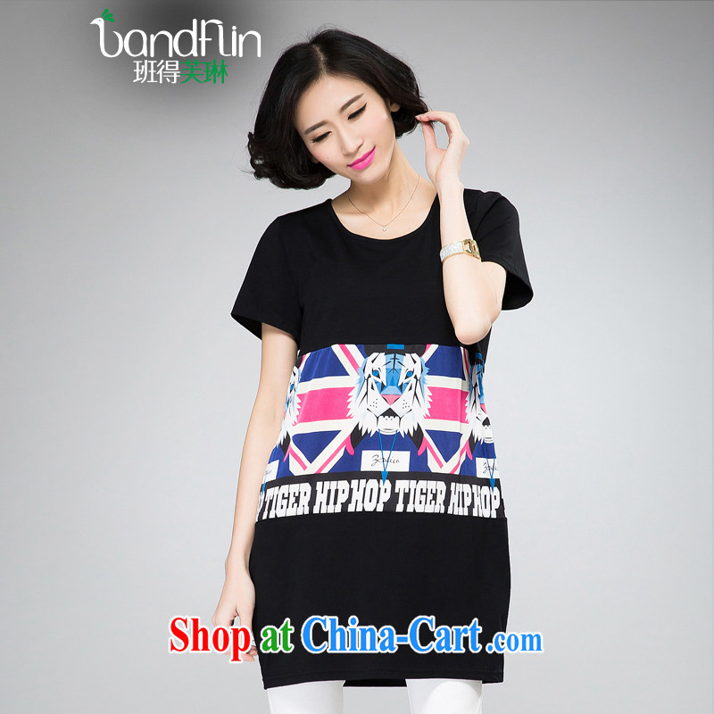 Classes, Evelyn, 2015 spring and summer mm thick new larger female stylish creative collision color stamp graphics thin T-shirt with short sleeves B 2046 black 2 XL _125 - 150 _ jack
