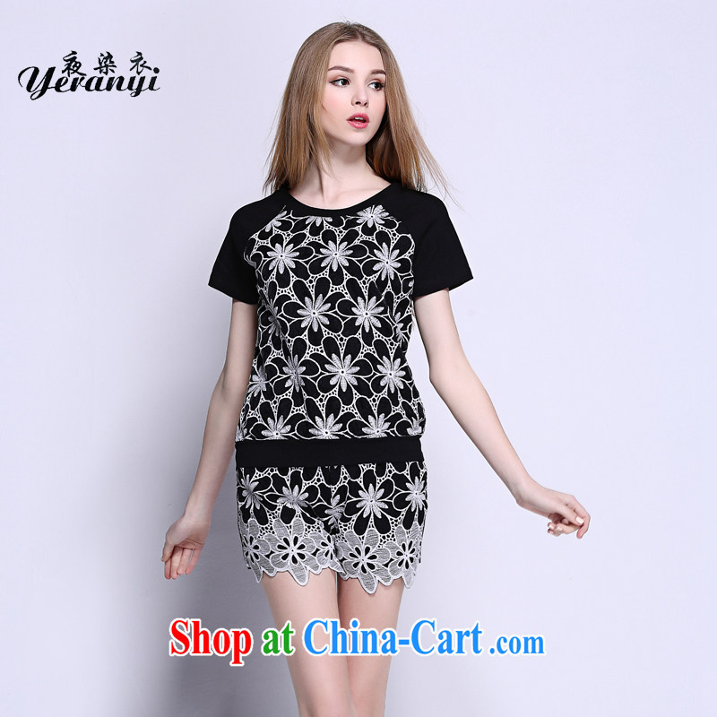 My dyeing clothing summer 2015 new large code female thick MM cultivating graphics thin package black 6 XL (185 - 200 ) jack
