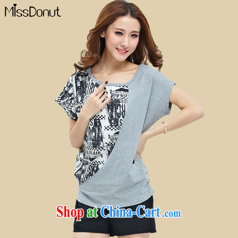 MissDonut 2015 summer thick girls increased load code Korean thick mm video thin stamp loose T pension two-piece sport and leisure package large gray code 4 XL