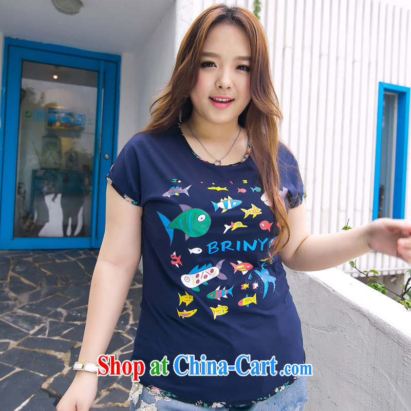 The Erez mark 2015 summer, new thick sister larger female short-sleeved T-shirt beauty graphics thin solid T-shirt 1002 2 XL _Recommendations of chest 116 cm left and right_