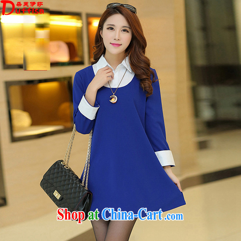 flower girl Isabelle 2015 spring new FAT sister and indeed increase code spell color shirt collar loose video thin dresses female D 1569 blue 4 XL
