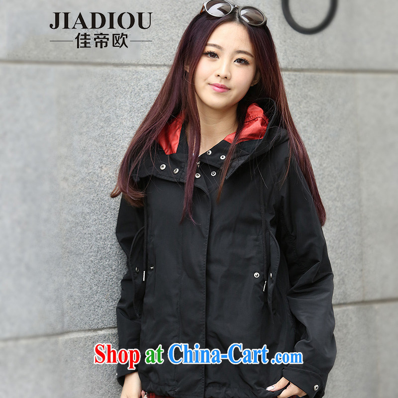 Better Dili in 2015 Europe and indeed increase, female spring new wind jacket thick MM spring and the Code graphics thin jacket Black Large Number 4 XL