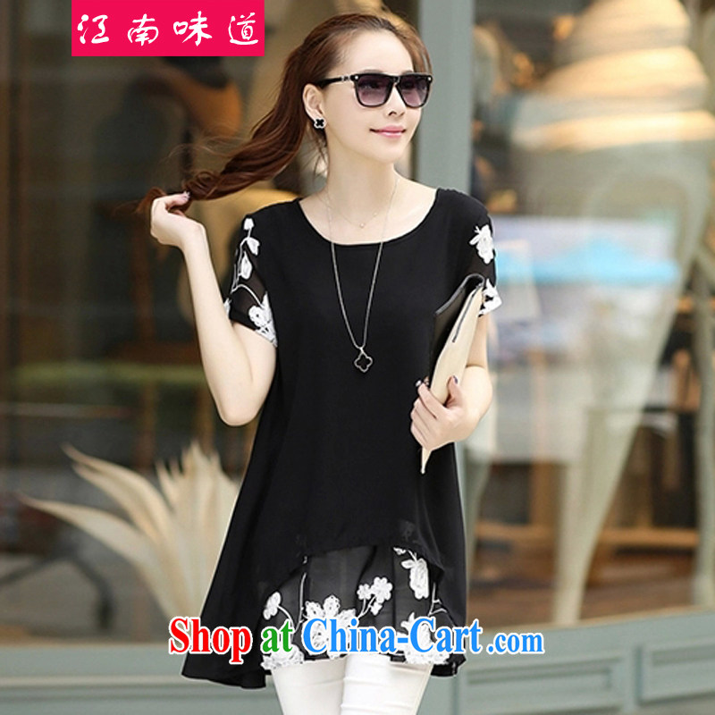 taste in Gangnam-gu 2015 summer on the new women loose the code snow woven shirts female long leave of two piece lapel T shirt 7600 black XXXL