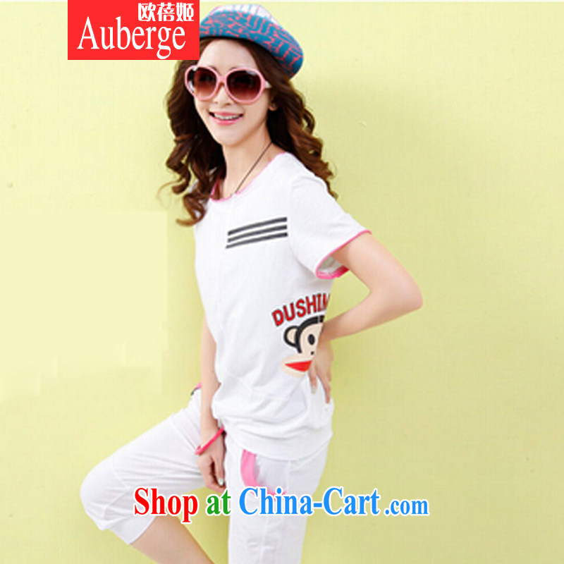 The Pei-hee 2015 summer Korean short-sleeved sport and leisure package girls summer maximum number 7 loose pants stylish stamp big mouth monkey Kit female white XL