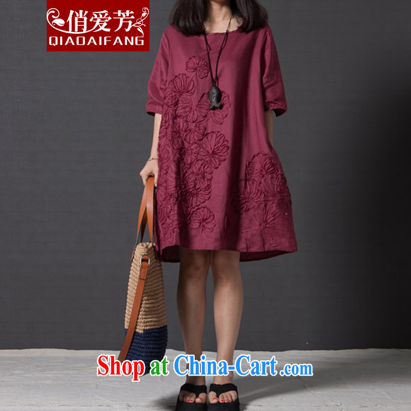 To Love Fang 2015 spring new dress code the female arts, small fresh loose embroidery cuff in Yau Ma Tei cotton dress wine red XXL