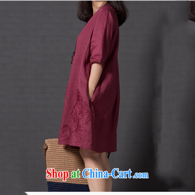 To Love, spring 2015 the new dress code the ladies literary, small fresh loose embroidery cuff in the cotton dress wine red XXL, to love-fang (QIAOAIFANG), online shopping