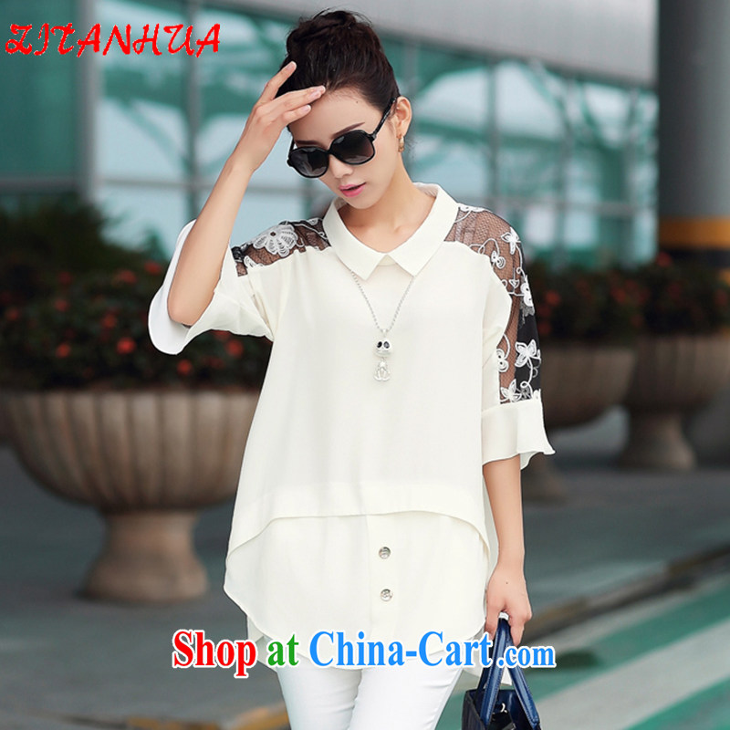 2015 summer new paragraph dolls for stitching lace cuff large code snow-woven shirts shirt large code female Z 8805 white XXXXL
