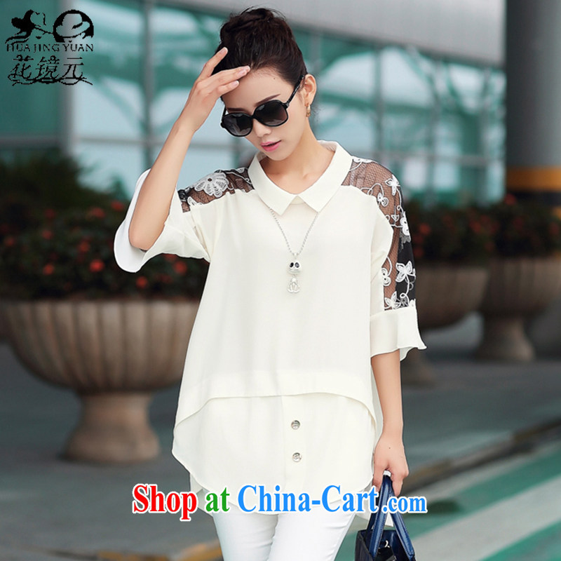 Spend $mirror 2015 summer new dolls for stitching lace cuff large code snow woven shirts shirt large code women 8805 H white XXXL