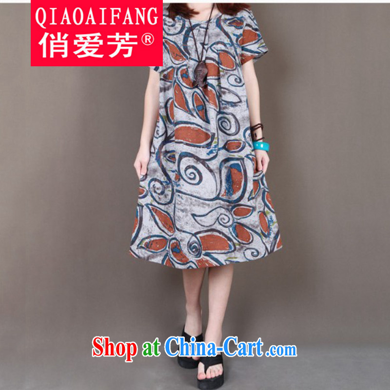 To Love, summer 2015 new female literary ripstop taffeta overlay wind loose the code round-collar stamp short-sleeved cotton Ma-yi skirt gray XXL