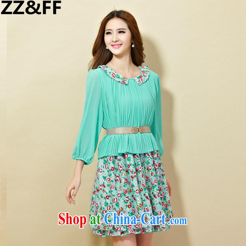 ZZ &FF 2015 summer is the XL female thick MM cuff in A field skirt 100 hem skirt dresses blue XXXXXL
