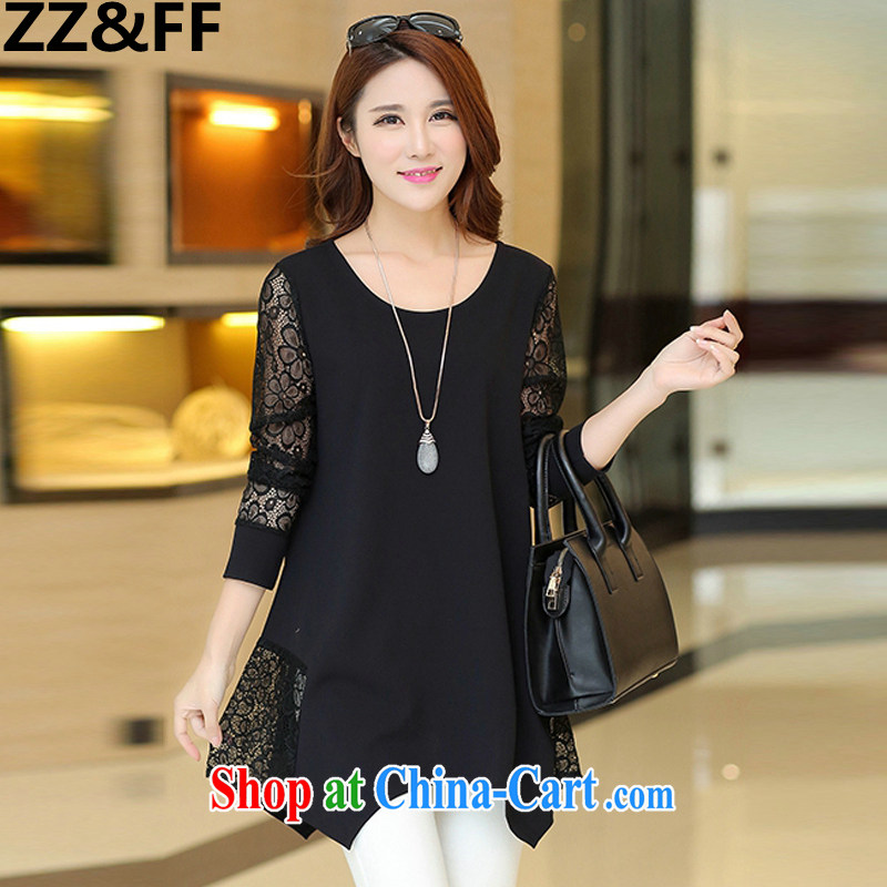 ZZ _FF 2015 summer new Korean version and indeed increase, female, long T-shirt lace stitching snow woven shirts black XXXXXL