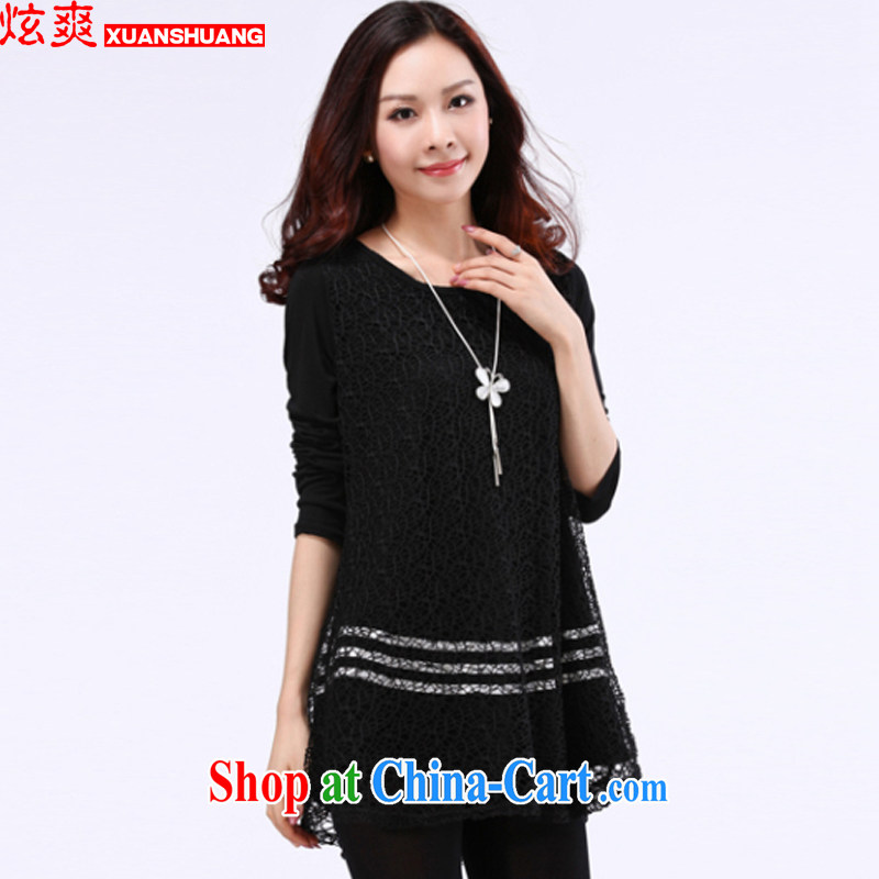 Cool cool 2015 spring loaded the Code women Openwork stitching Korean temperament and indeed intensify dress thick sister black XXXXXL