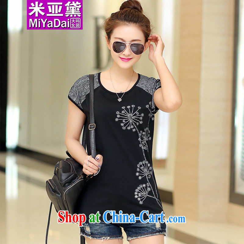 The Estee Lauder maximum code female thick sister summer 2015 new Korean video thin and thick and 200 Jack mm thick short-sleeved T-shirt solid black clothes 4 XL _recommendations 160 - 180 jack_