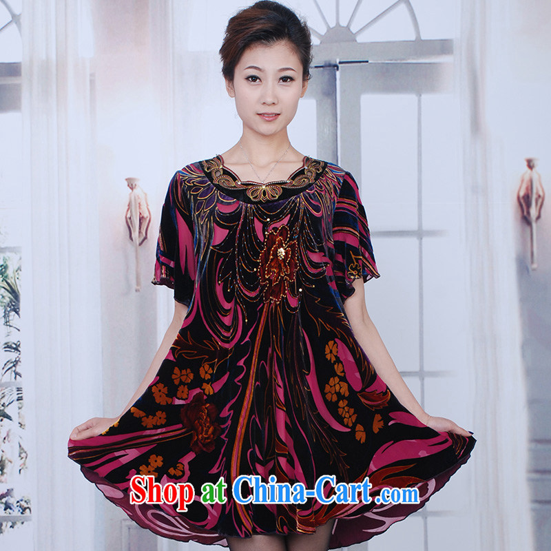The Bosch 1 trillion color 2015 really velvet dress new summer short-sleeved, long, large, female lady mom with older thick mm sauna silk Korean version of red2 XL