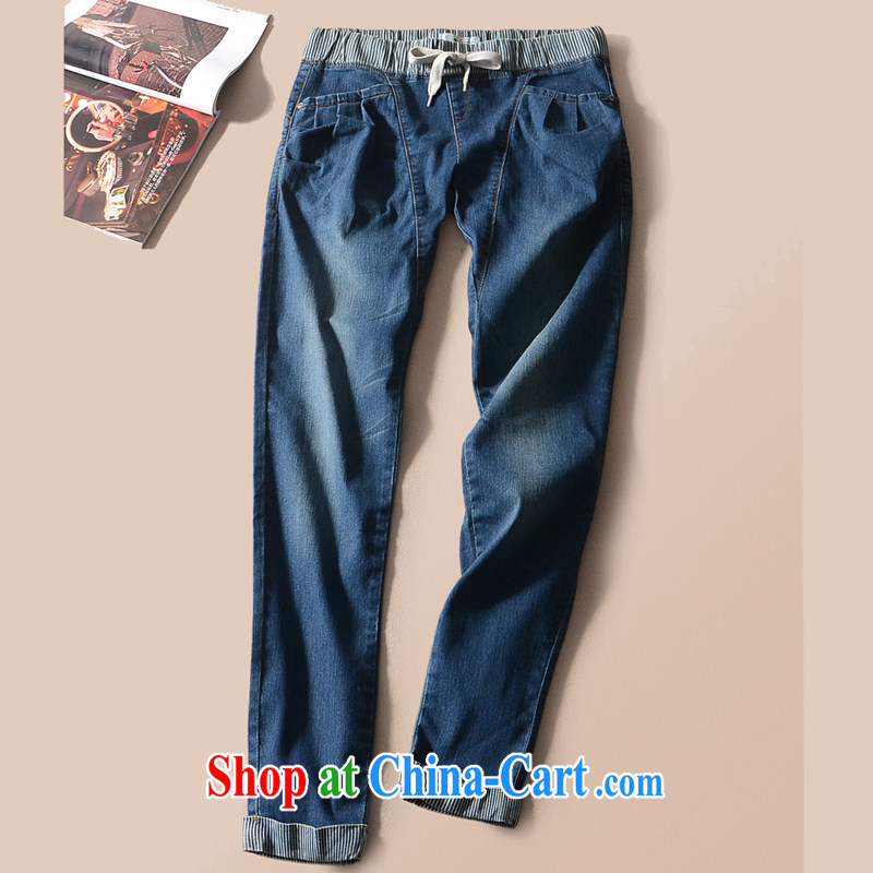 2015 is indeed the XL female thick mm Spring Trade original single jeans castor King code female trousers Kst deep blue 2 X