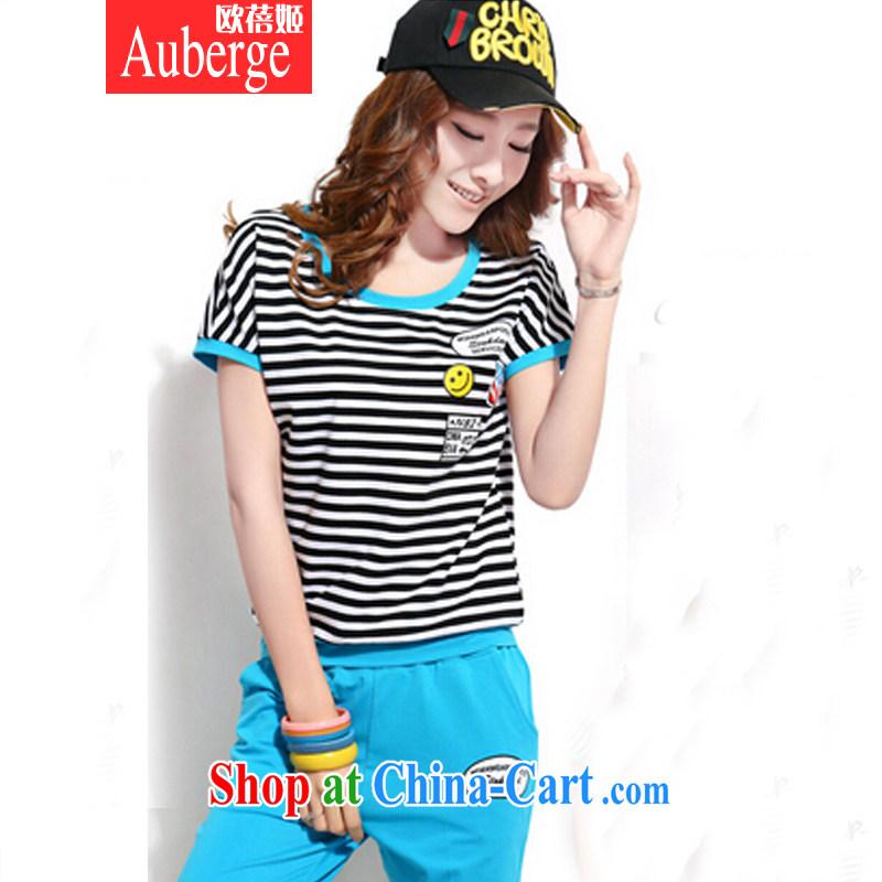 The Pei-hee 2015 new summer leisure package Korean Stylish Girl stripes short-sleeve 7 Trouser press kit uniforms blue XXL