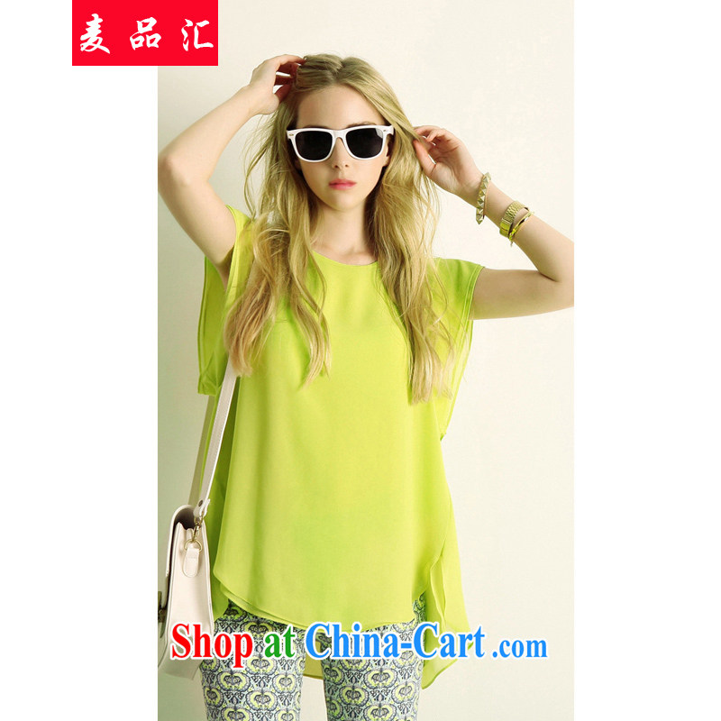 Mr MAK, Exchange 2015 new summer the Code women mm thick loose video thin and thick XL snow woven shirt short-sleeved stamp cultivating yellow T-shirt and shorts set 5 XL
