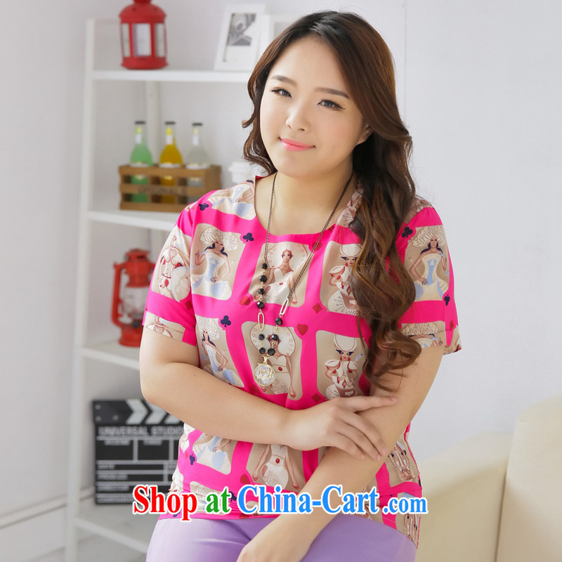 The mine-clearance, mark the fat XL female summer new 2015 Korean loose short sleeve shirt T Snow woven shirts 1025 L (chest of 104 cm)