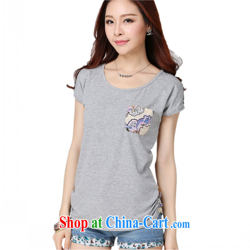 Package Mail Delivery sweet simple small T pension increase, Stylish retro stamp duty cotton stitching short-sleeved T-shirt 2015 new graphics thin 100 ground T shirt gray 4 XL approximately 160 - 175 jack
