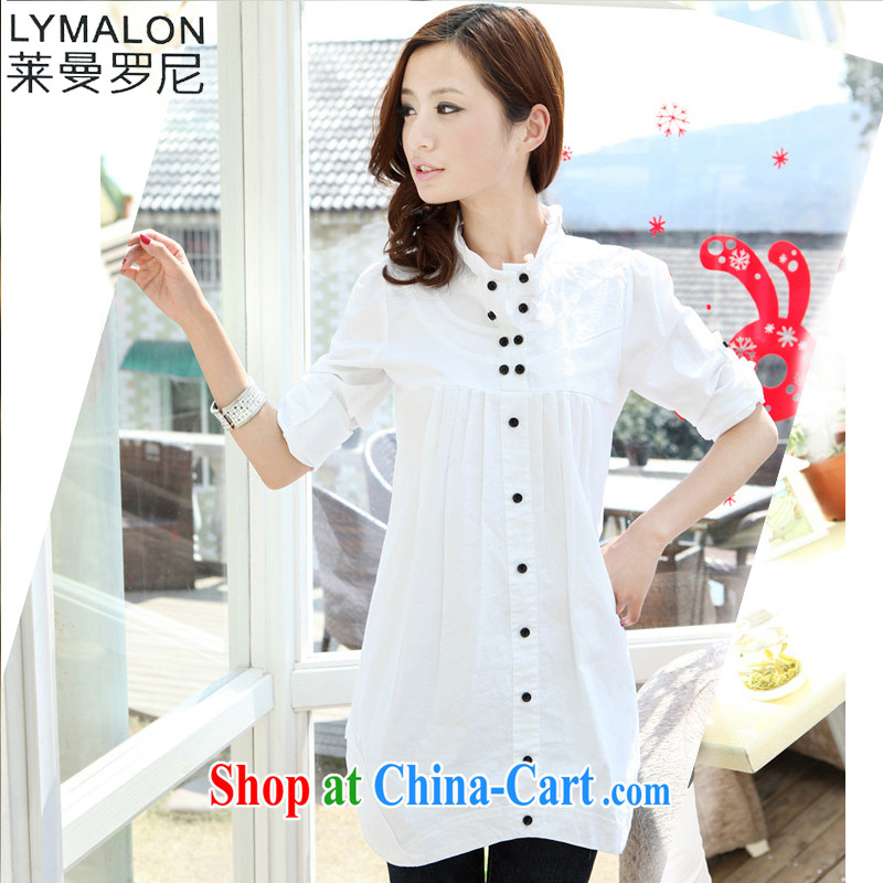 Lehman Ronnie lymalon fat people graphics thin summer 2015 new Korean version the Code women mm thick and fat and long-sleeved T-shirt T-shirt 1705 m White XXXL